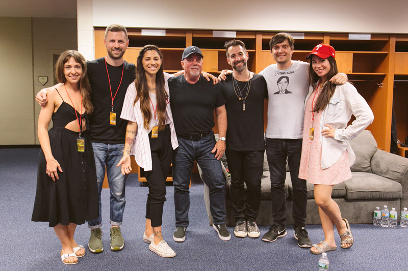 Christina Perri and the band with Billy Joel backstage at Billy Joel's concert at Citizens Bank Park in Philadelphia, PA on July 9, 2016.