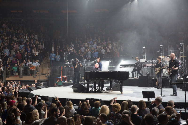 Billy Joel on stage at Madison Square Garden, April 15th, 2016