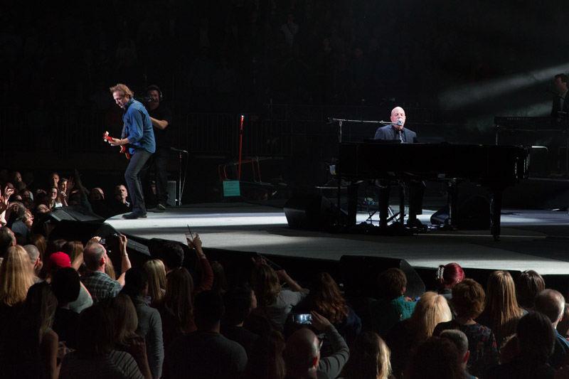 Billy Joel and Tommy Byrnes on stage at Madison Square Garden, April 15th, 2016