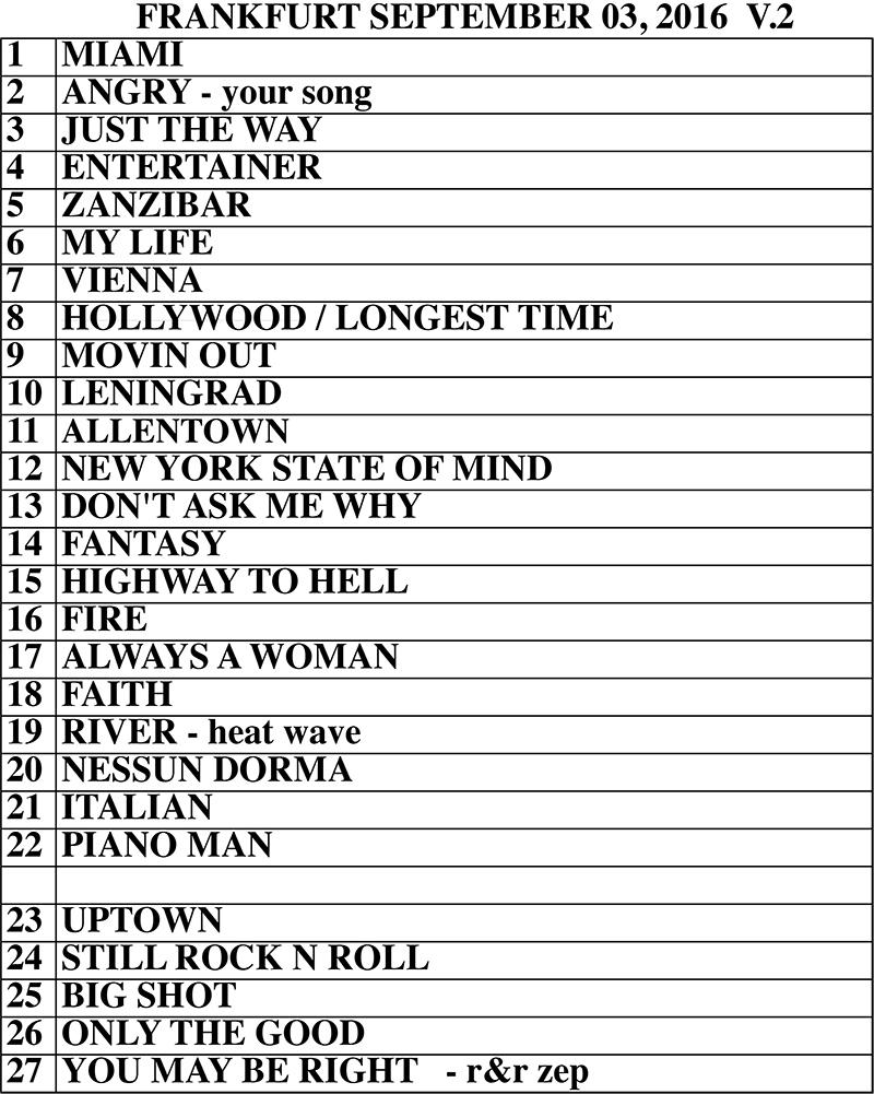 Set list from Billy Joel Commerzbank Arena Frankfurt, Germany concert September 3, 2016