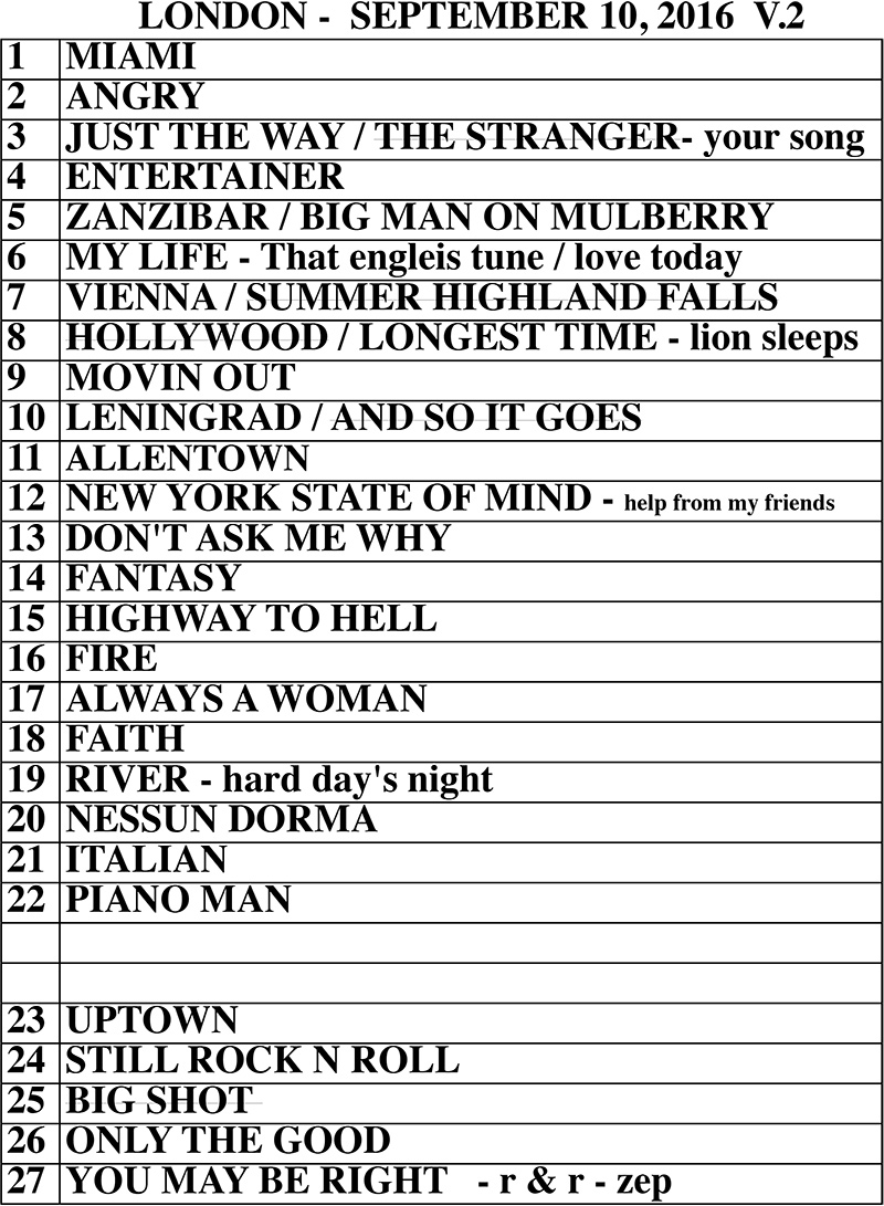 Set list from Billy Joel Wembley Stadium London, England concert September 10, 2016
