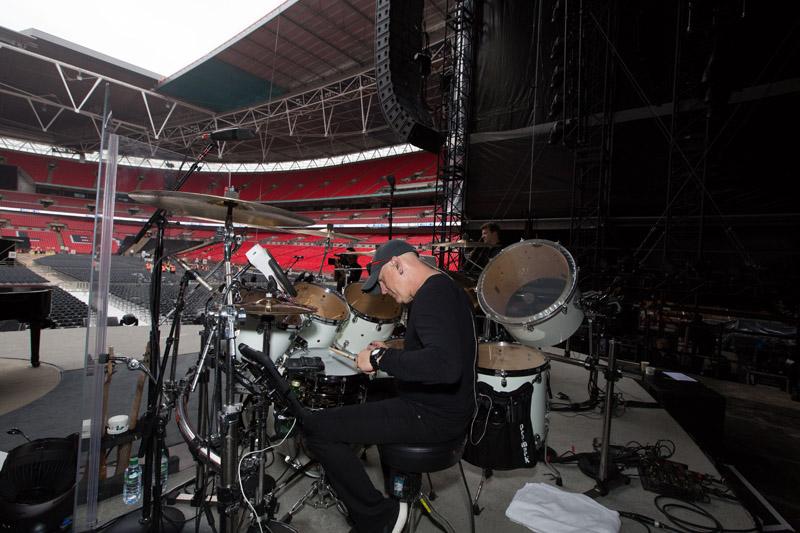Chuck Bergi at soundcheck.  Billy Joel At Wembley Stadium, September 10, 2016