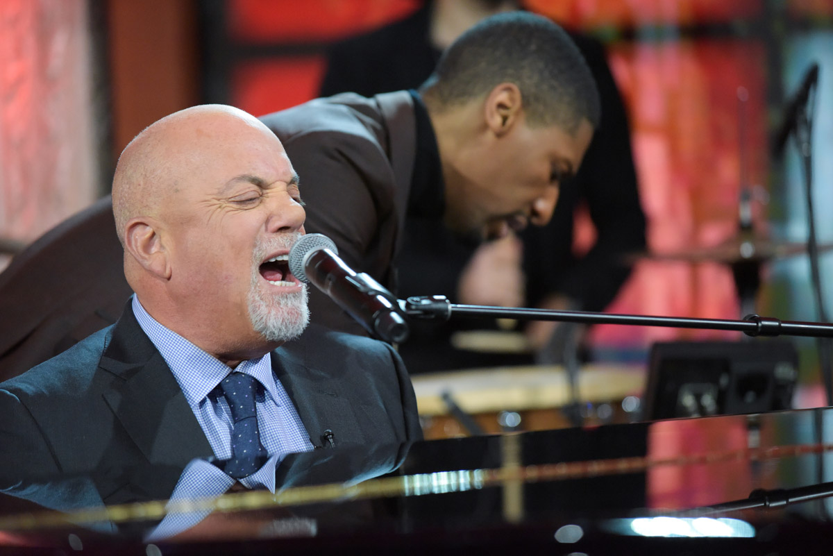 Billy Joel performs Miami 2017 (I've Seen The Lights Go Out On Broadway) with Jon Batiste and Stay Human band on The Late Show With Stephen Colbert January 9, 2017 in New York, NY