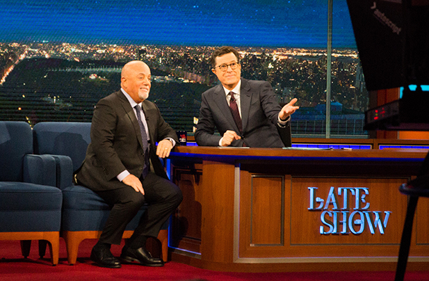 Billy Joel makes guest appearance on The Late Show With Stephen Colbert January 9, 2017 in New York, NY