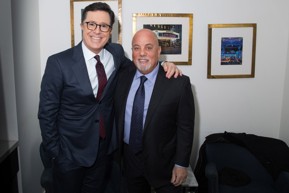 Billy Joel and Stephen Colbert backstage at The Late Show With Stephen Colbert January 9, 2017 in New York, NY