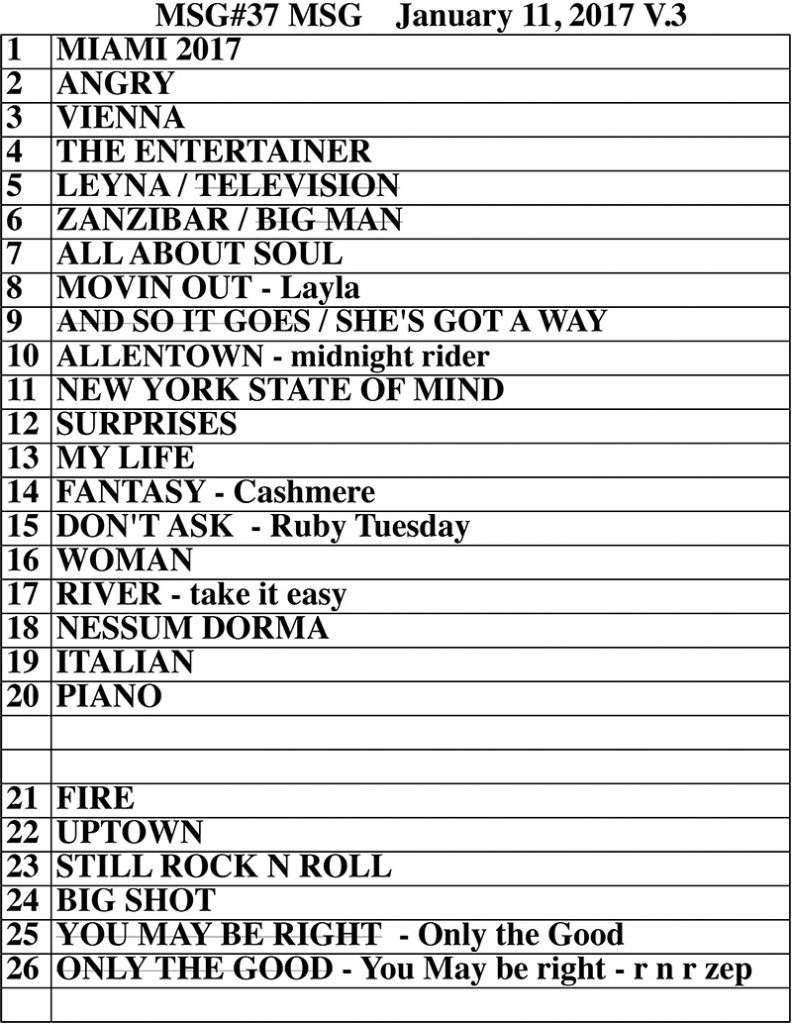 Set list from Billy Joel concert Madison Square Garden New York, NY, January 11, 2017