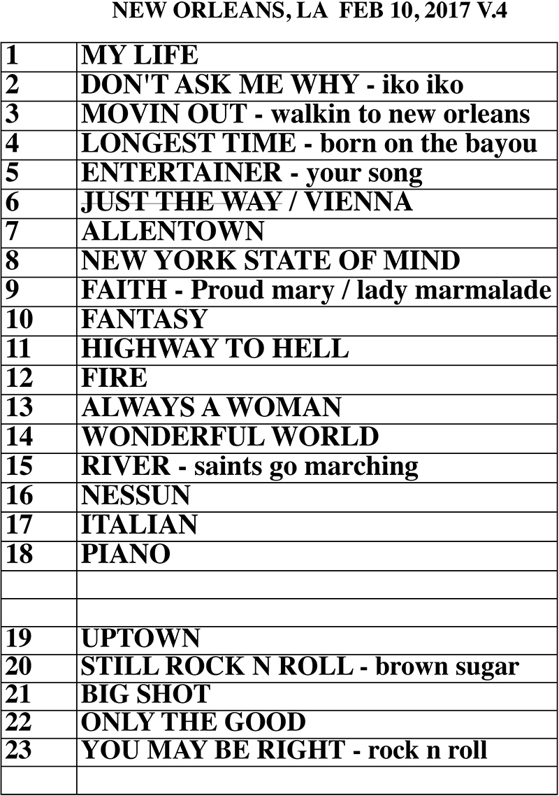 Set list from Billy Joel Smoothie King Center New Orleans, LA concert February 10, 2017
