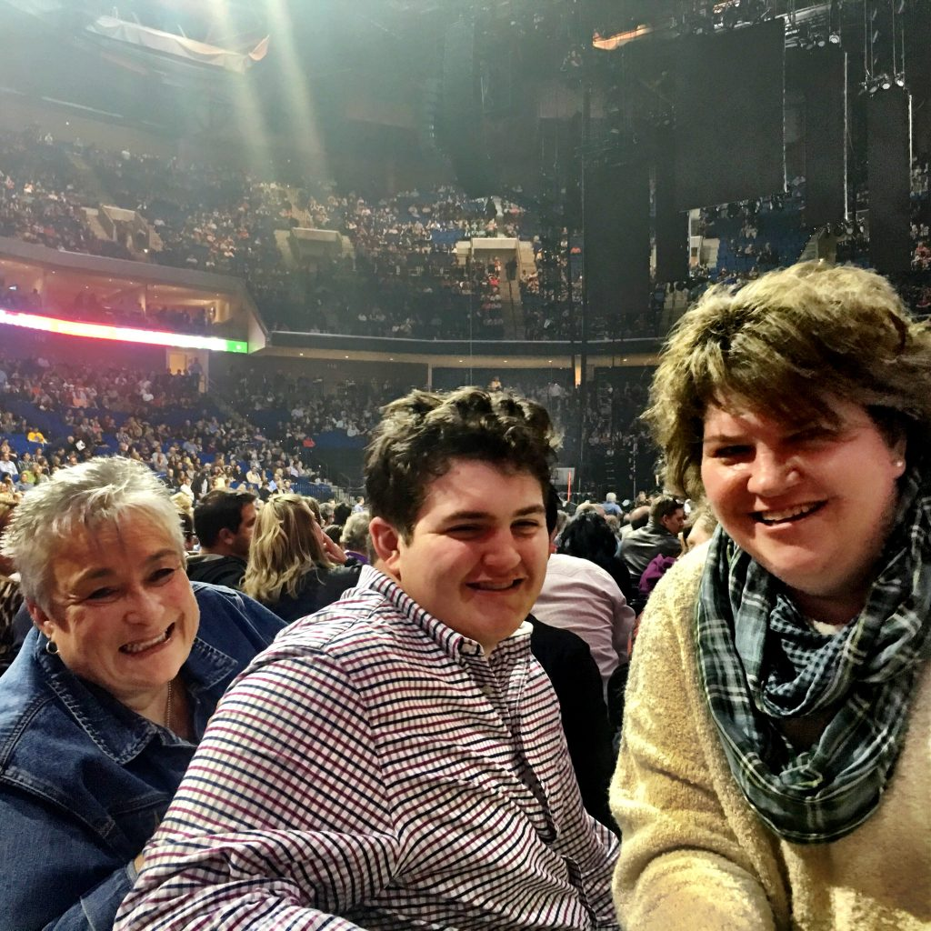 Celebrating first concert since my stroke. Dear family friend from Kansas on the left, my 16 y/o son in the middle, and me!