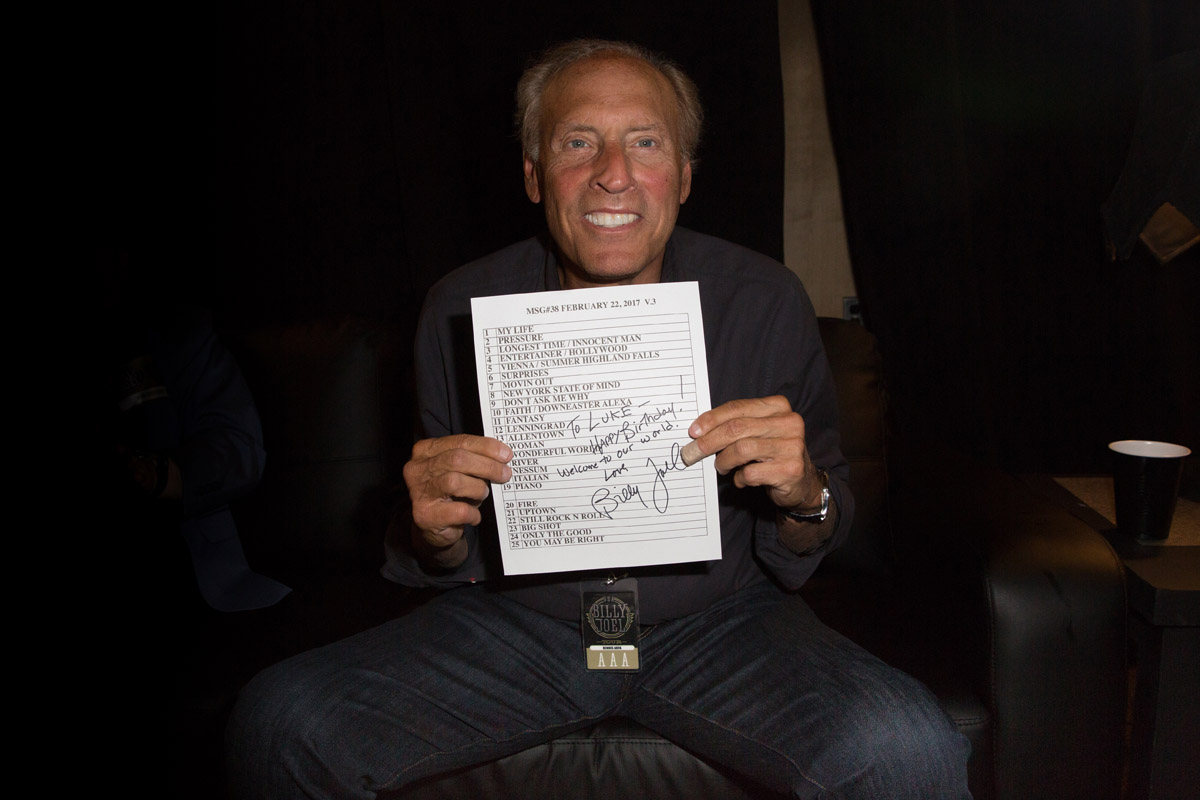 Dennis Arfa with a signed set list announcing the birth of his grandson, Luke, at Billy Joel's concert at Madison Square Garden in New York, NY, on February 22, 2017.