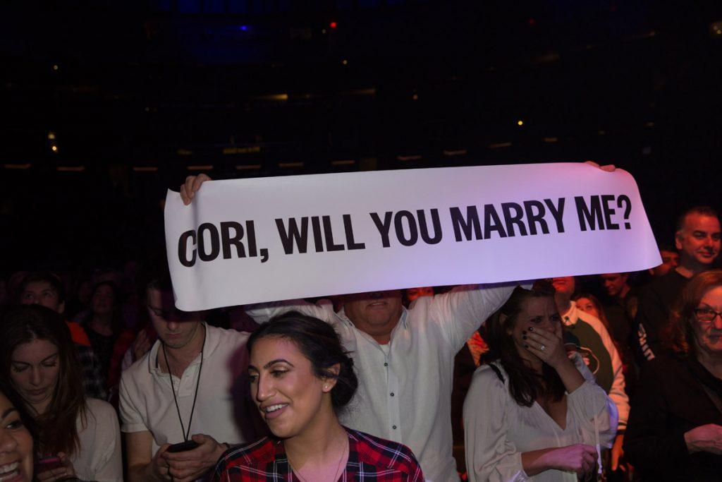 Fans propose at concert