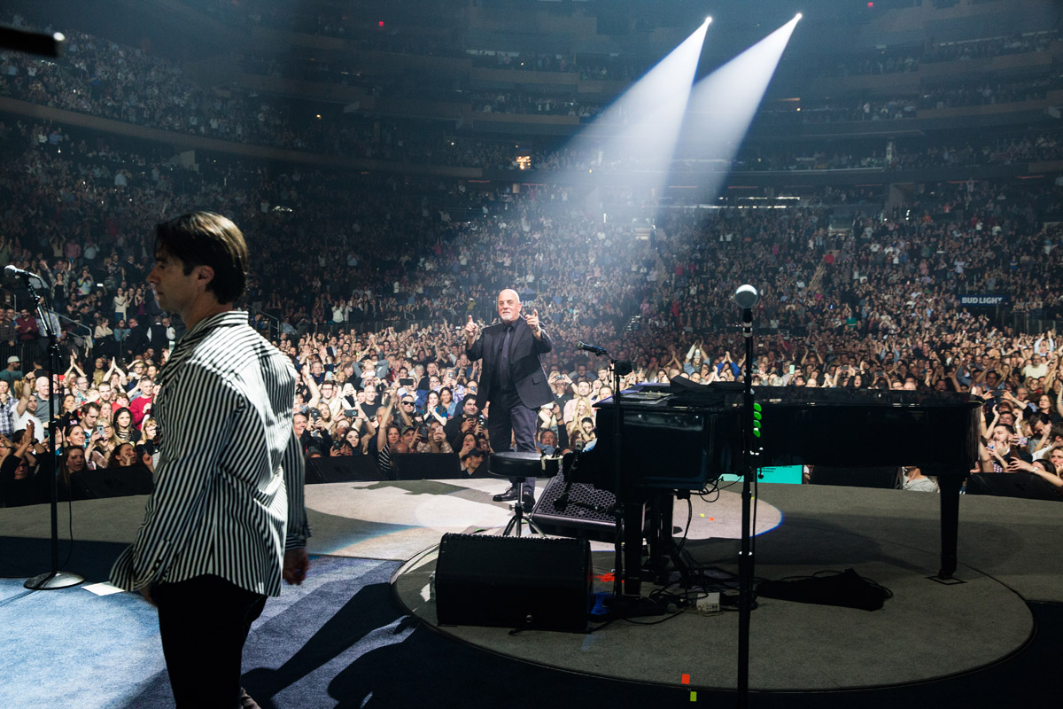 Billy Joel and Andy Cichon on stage at Madison Square Garden in New York, NY, on February 22, 2017.