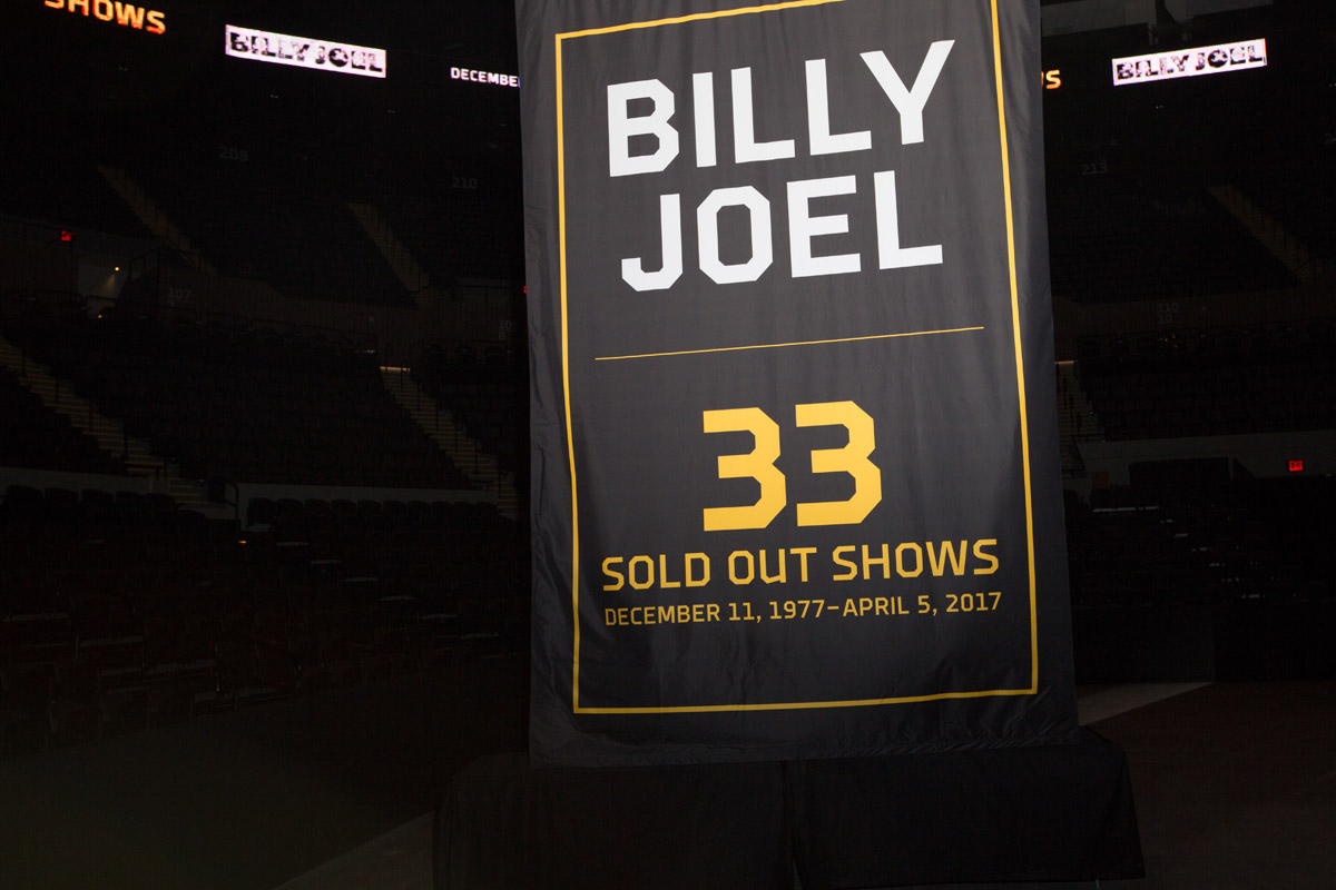 Billy Joel 33 Sold Out Shows banner at NYCB Live's Nassau Veterans Memorial Coliseum April 3, 2017
