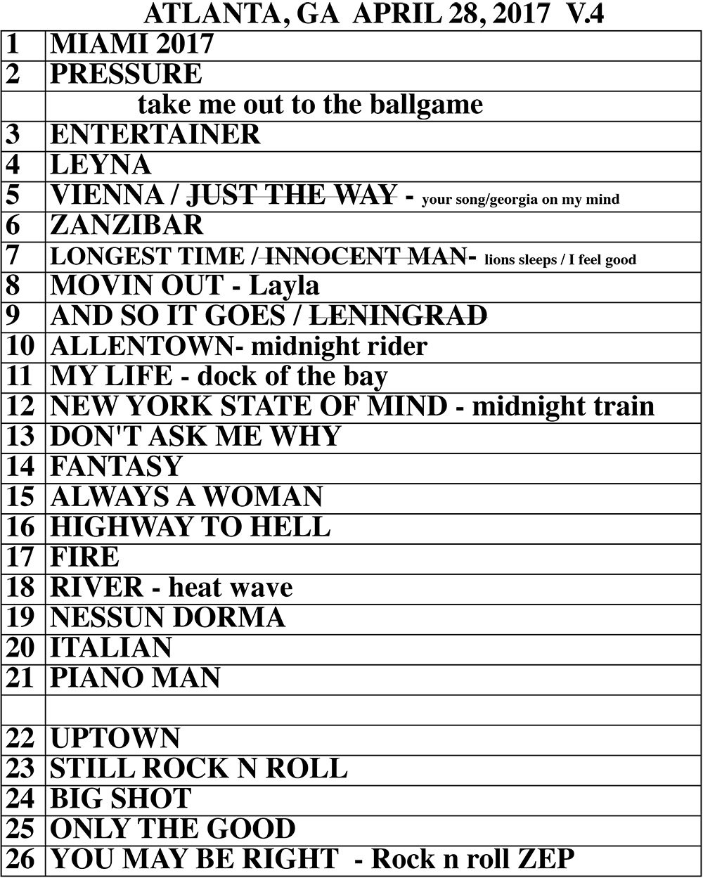 Set list from Billy Joel SunTrust Park Atlanta, GA concert April 28, 2017