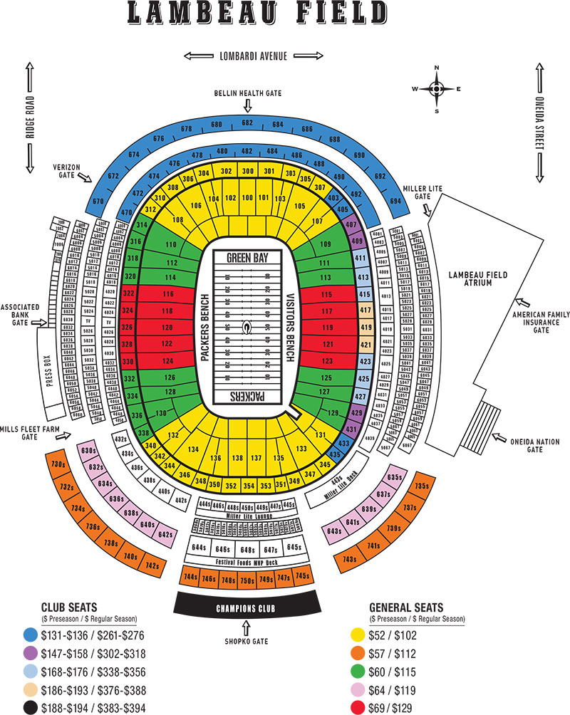 3551 Lambeau Seating Map 2017 PRICING PUBLIC