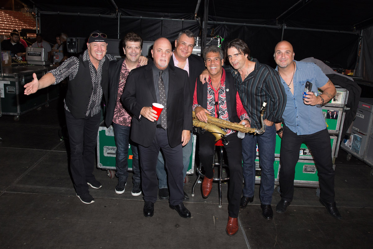 Chuck Burgi, Dave Rosenthal, Billy Joel, Carl Fischer, Mark Rivera, Andy Cichon and Mike DelGuidice backstage Busch Stadium St. Louis, MO, September 21, 2017