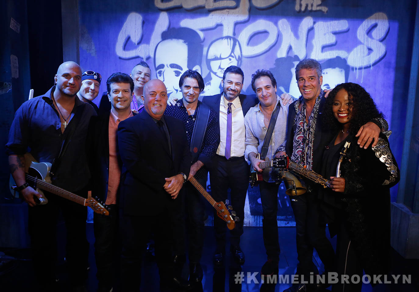 Billy Joel at Jimmy Kimmel Live! October 19, 2017 with Mike DelGuidice, Chuck Burgi, Dave Rosenthal, Carl Fischer, Andy Cichon, Tommy Byrnes, Mark Rivera and Crystal Taliefero