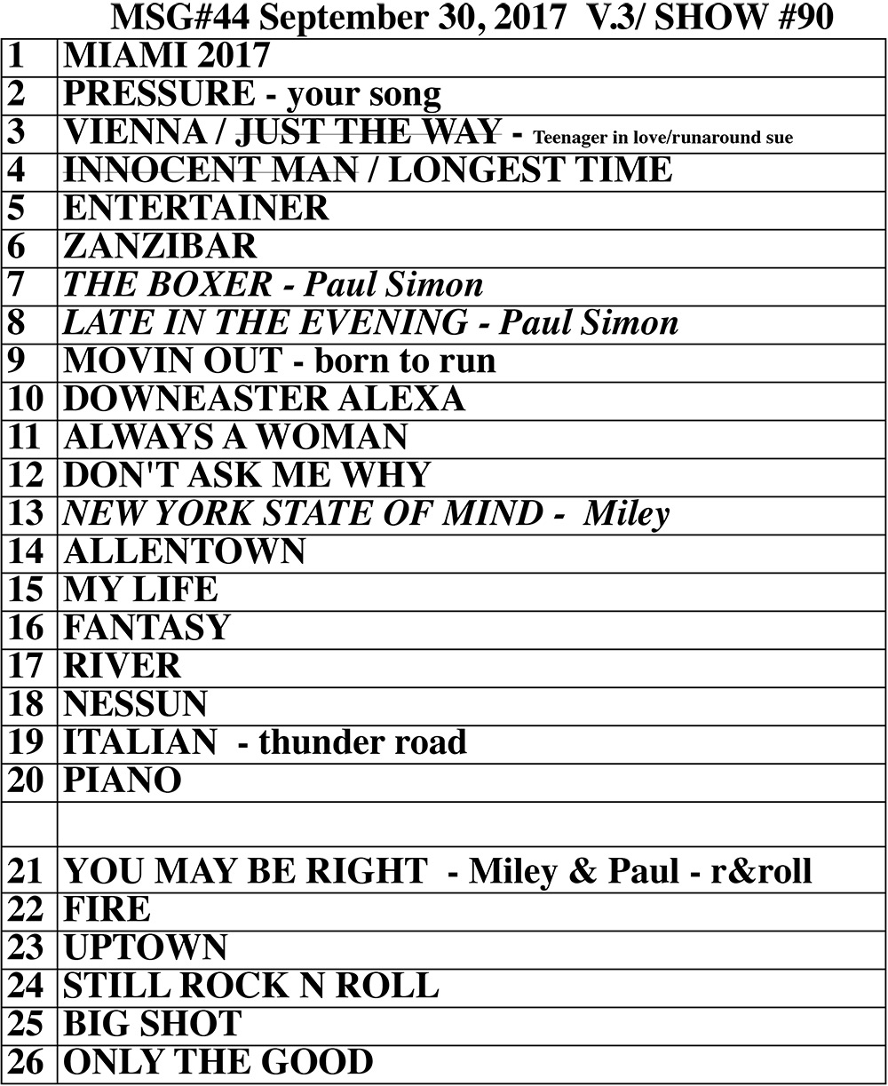 Set list from Billy Joel concert Madison Square Garden New York, NY, September 30, 2017