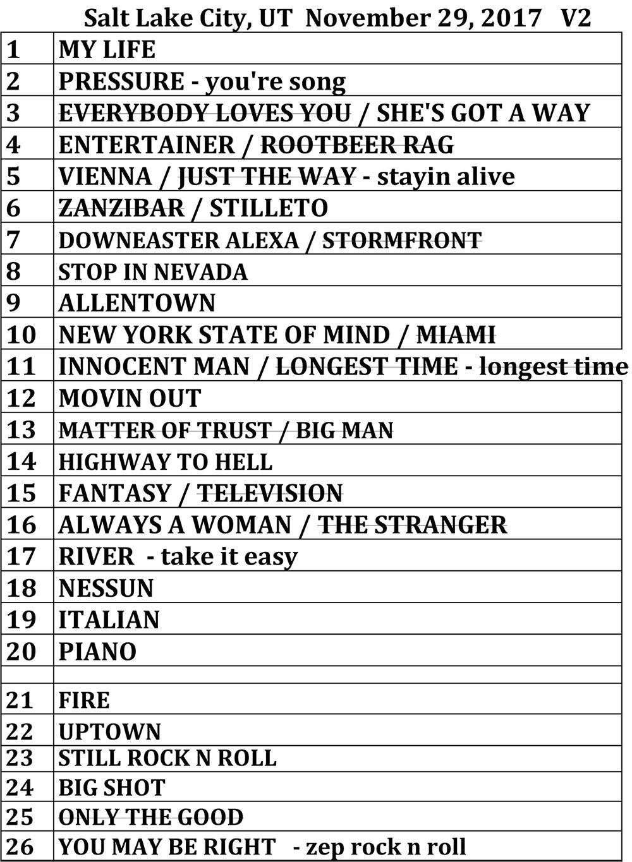 Set list from Billy Joel concert Vivint Smart Home Arena Salt Lake City, UT, November 29, 2017