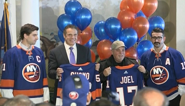 Billy Joel and Governor Andrew Cuomo welcome the New York Islanders back to Long Island at Belmont Park