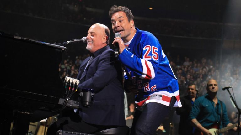 Billy Joel and Jimmy Fallon at Madison Square Garden in New York, NY, on January 7, 2016