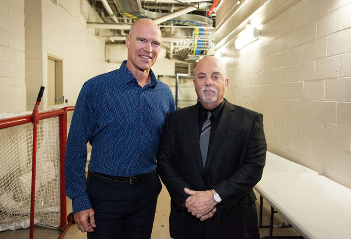 Billy Joel and Mark Messier backstage for Joel's 50th consecutive show of his residency at Madison Square Garden in New York, NY, on March 28, 2018