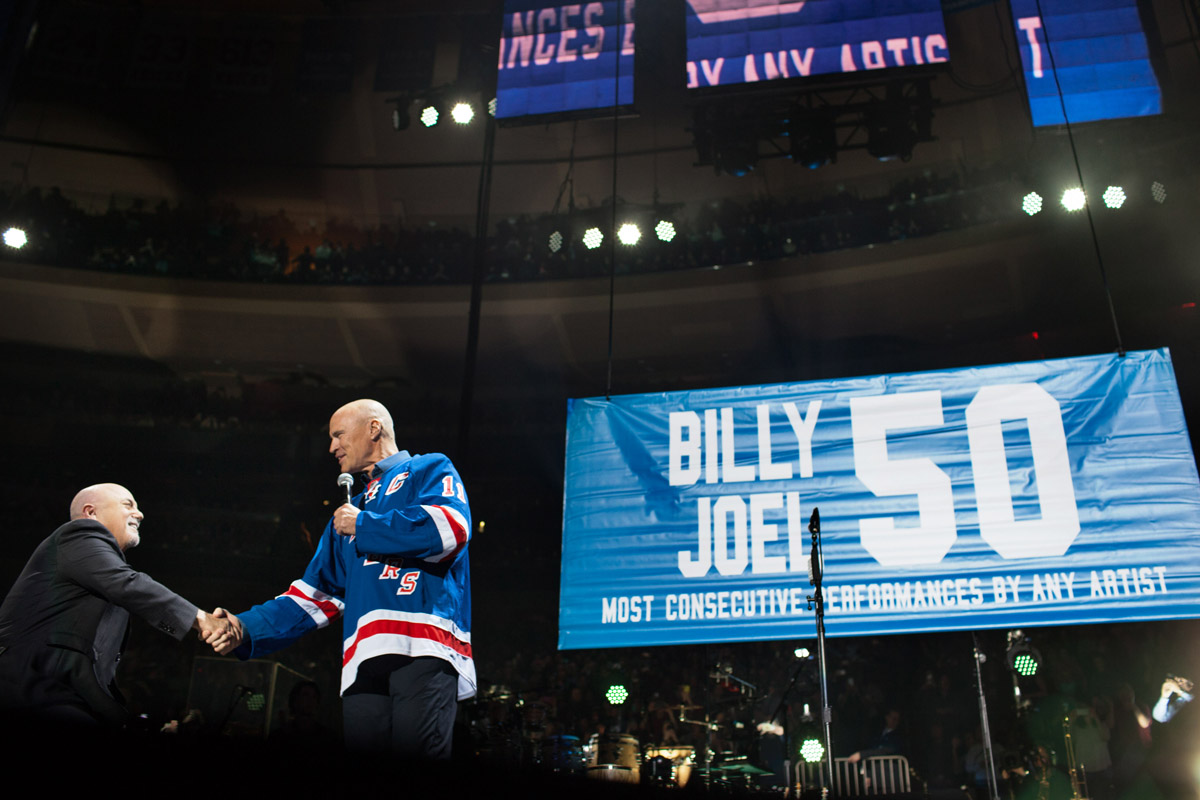 Billy Joel and Mark Messier at Joel's 50th consecutive show of his residency at Madison Square Garden in New York, NY, on March 28, 2018
