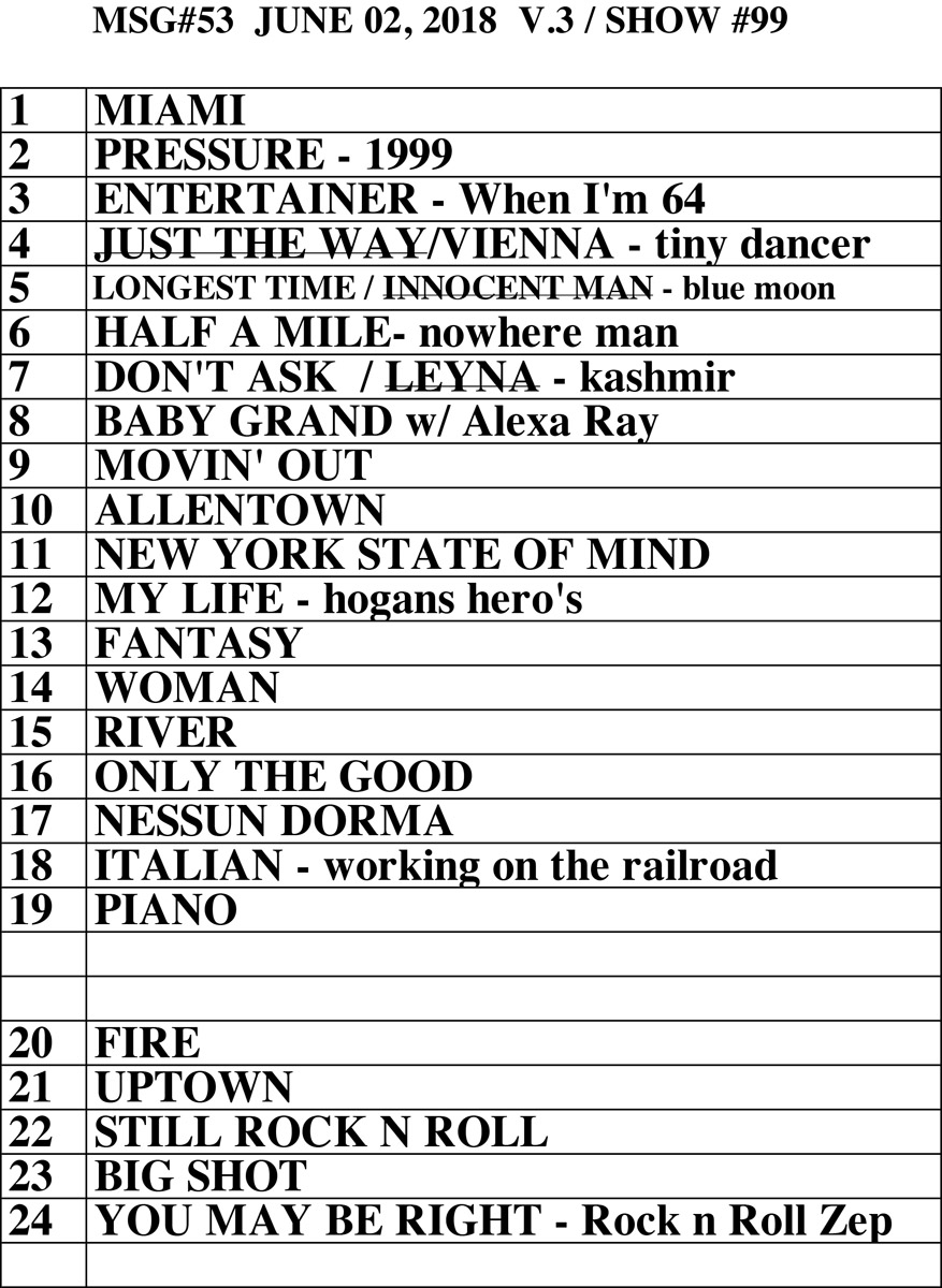 Set list from Billy Joel concert Madison Square Garden New York, NY, June 2, 2018