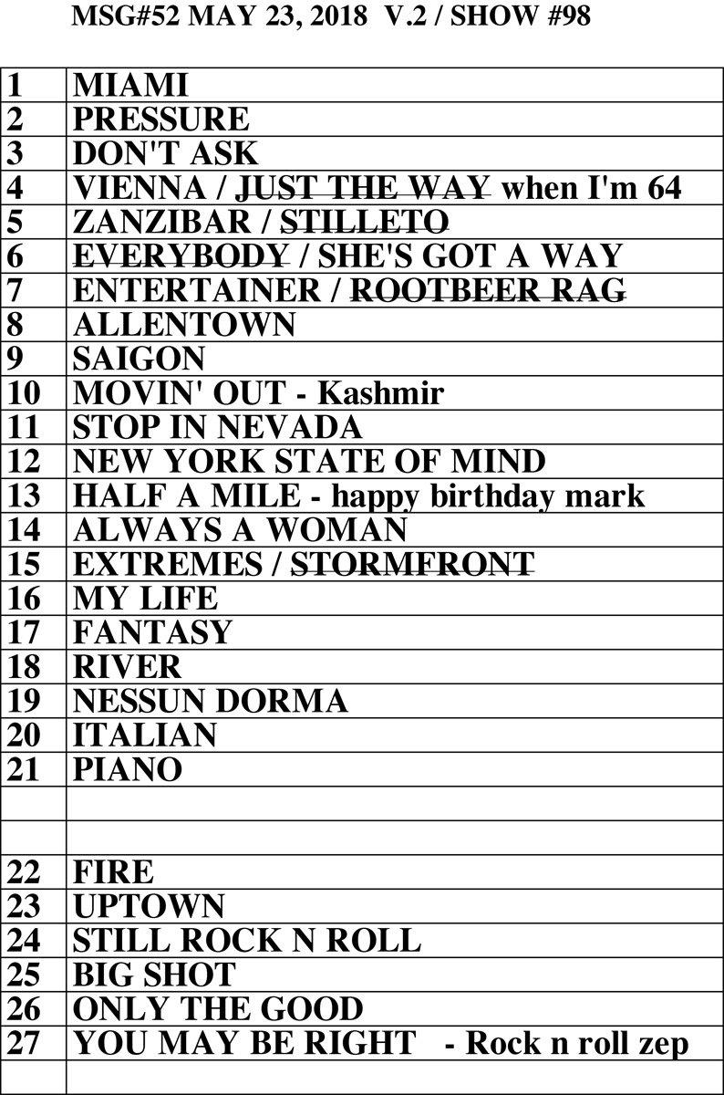 Set list from Billy Joel concert Madison Square Garden New York, NY, May 23, 2018