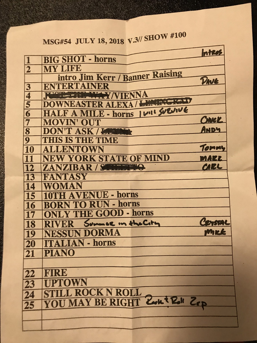 Set list from Billy Joel concert Madison Square Garden New York, NY, July 18, 2018