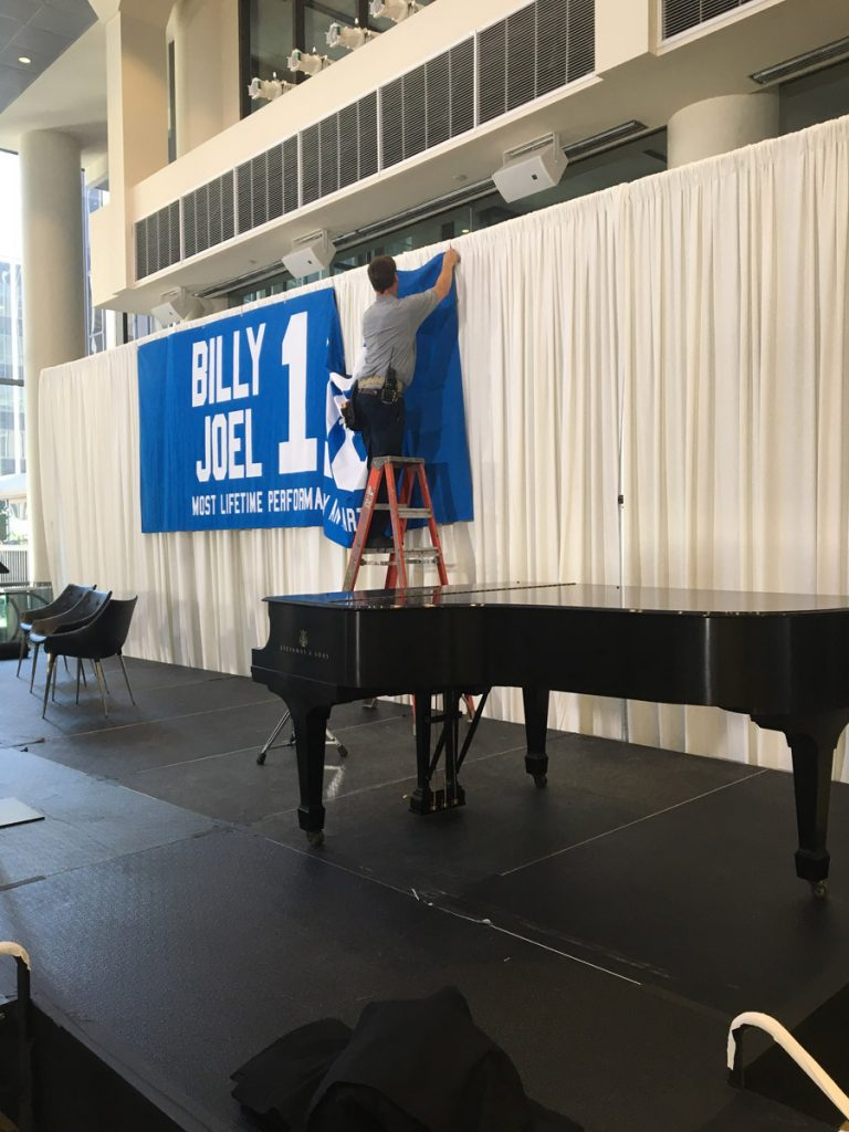 Crew prepares for Billy Joel 100th concert at Madison Square Garden in New York, NY, on July 18, 2018