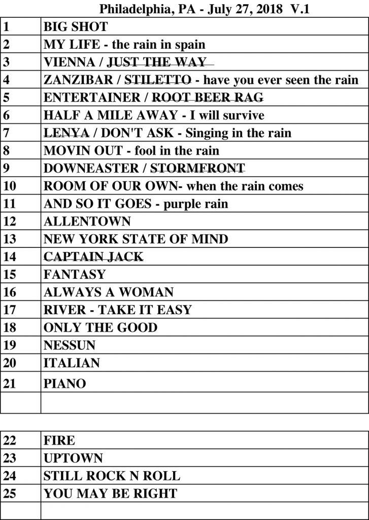 Billy Joel set list Citizens Bank Park Philadelphia, PA July 27, 2018