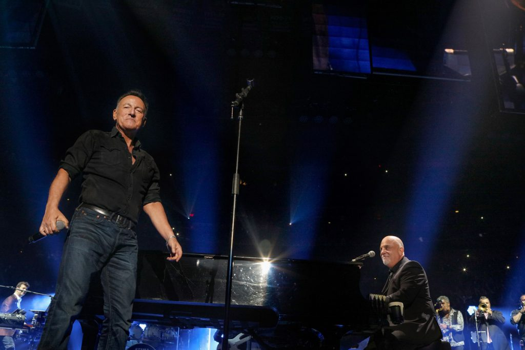 Billy Joel with surprise guest Bruce Springsteen at 100th concert at Madison Square Garden in New York, NY, July 18, 2018