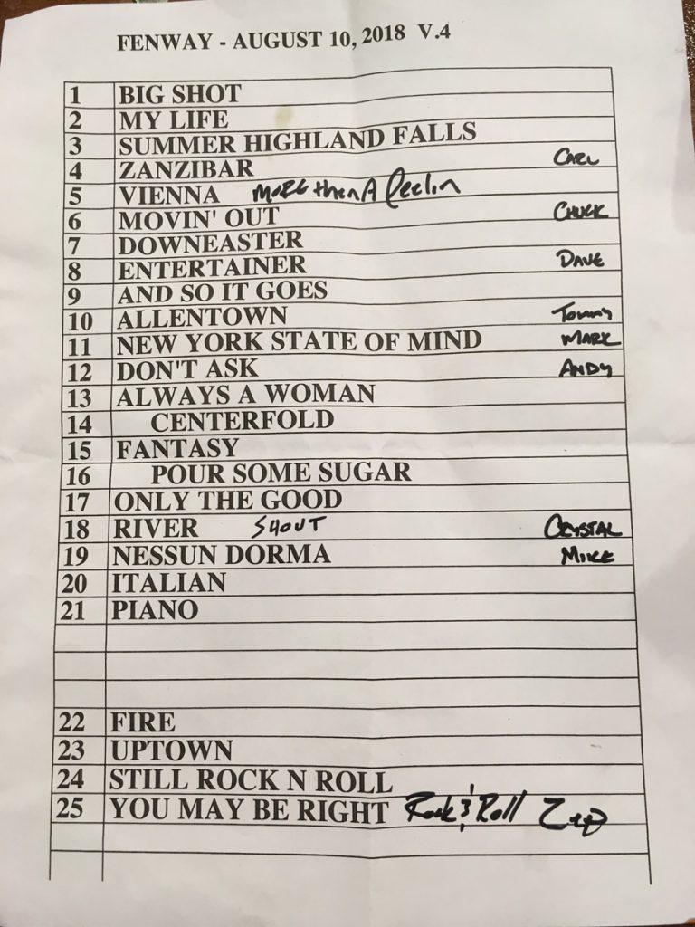Billy Joel At Fenway Park Boston, MA – August 10, 2018 (Photo 1)