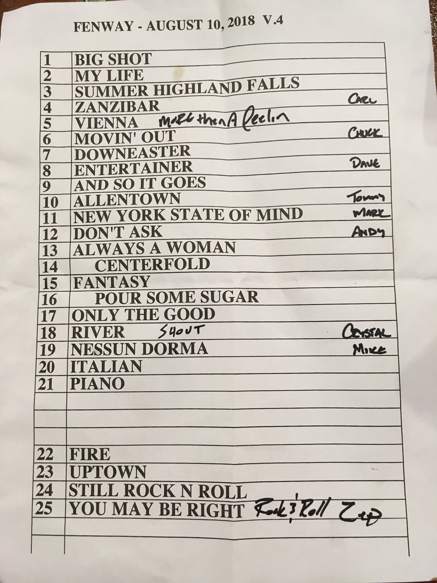 Set list from Billy Joel concert Fenway Park Boston, MA August 10, 2018