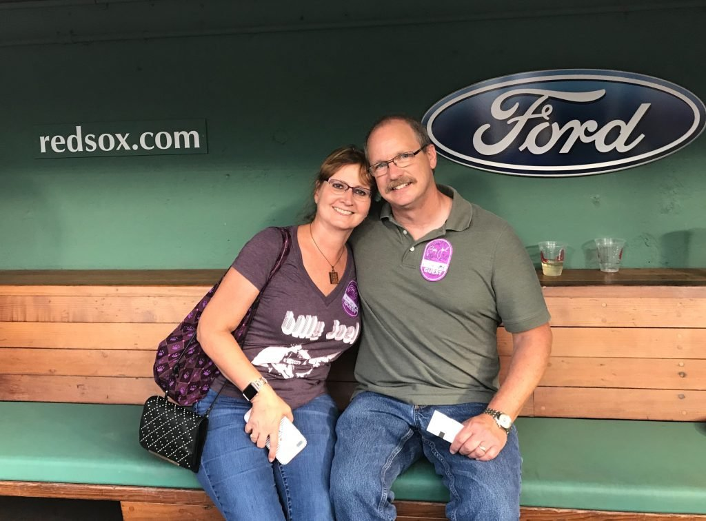 Enjoying the hospitality area (aka Red Sox dugout) before the show.