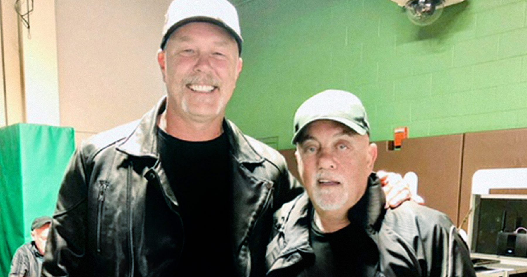 Billy Joel backstage with Metallica's James Hatfield at Wrigley Field Chicago, IL September 7, 2018