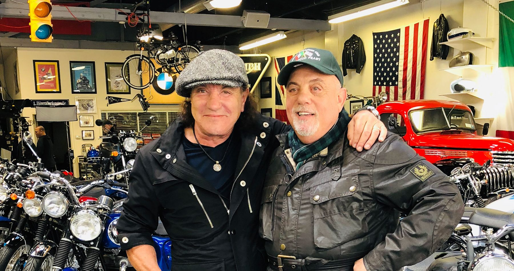 Billy Joel and Brian Johnson at 20th Century Cycles