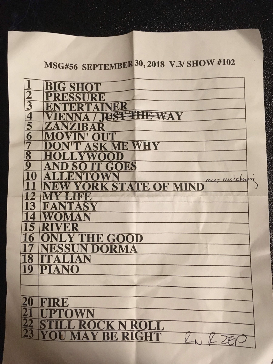 Set list from Billy Joel concert Madison Square Garden New York, NY, September 30, 2018