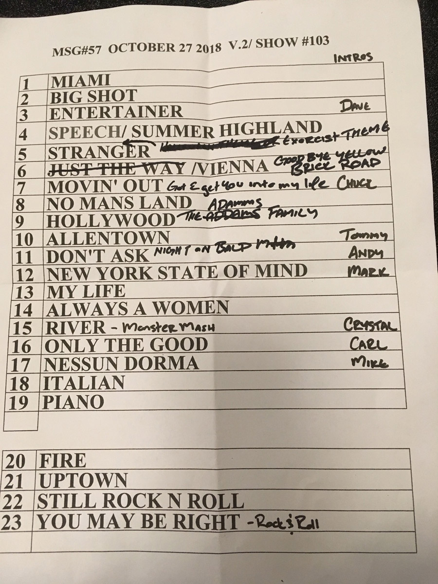 Set list from Billy Joel concert Madison Square Garden New York, NY, October 27, 2018