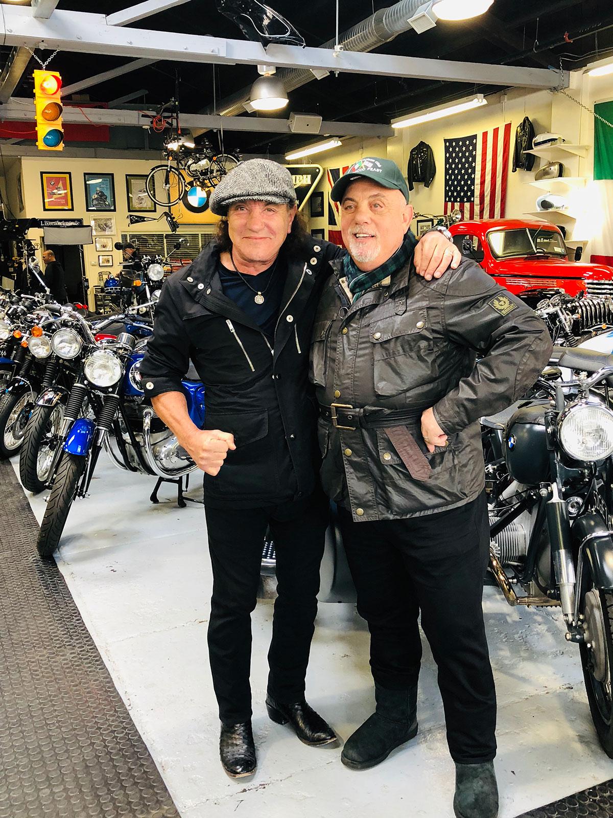 Billy Joel and Brian Johnson at 20th Century Cycles