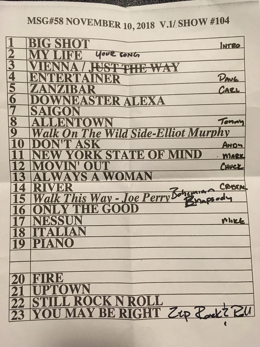Set list from Billy Joel concert Madison Square Garden New York, NY, November 10, 2018