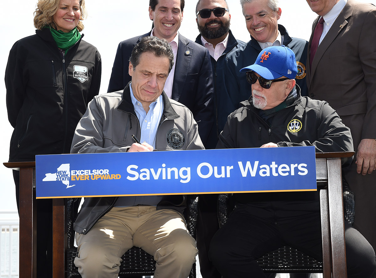 Governor Cuomo, joined by Billy Joel, signs bill April 29, 2019 to ban offshore drilling in New York waters
