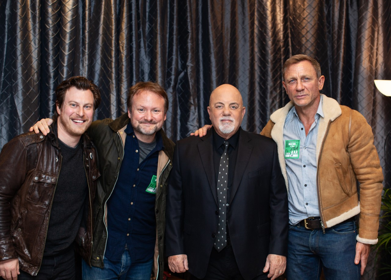 Billy Joel, Noah Segan, Rian Johnson and Daniel Craig backstage at Madison Square Garden January 25, 2020
