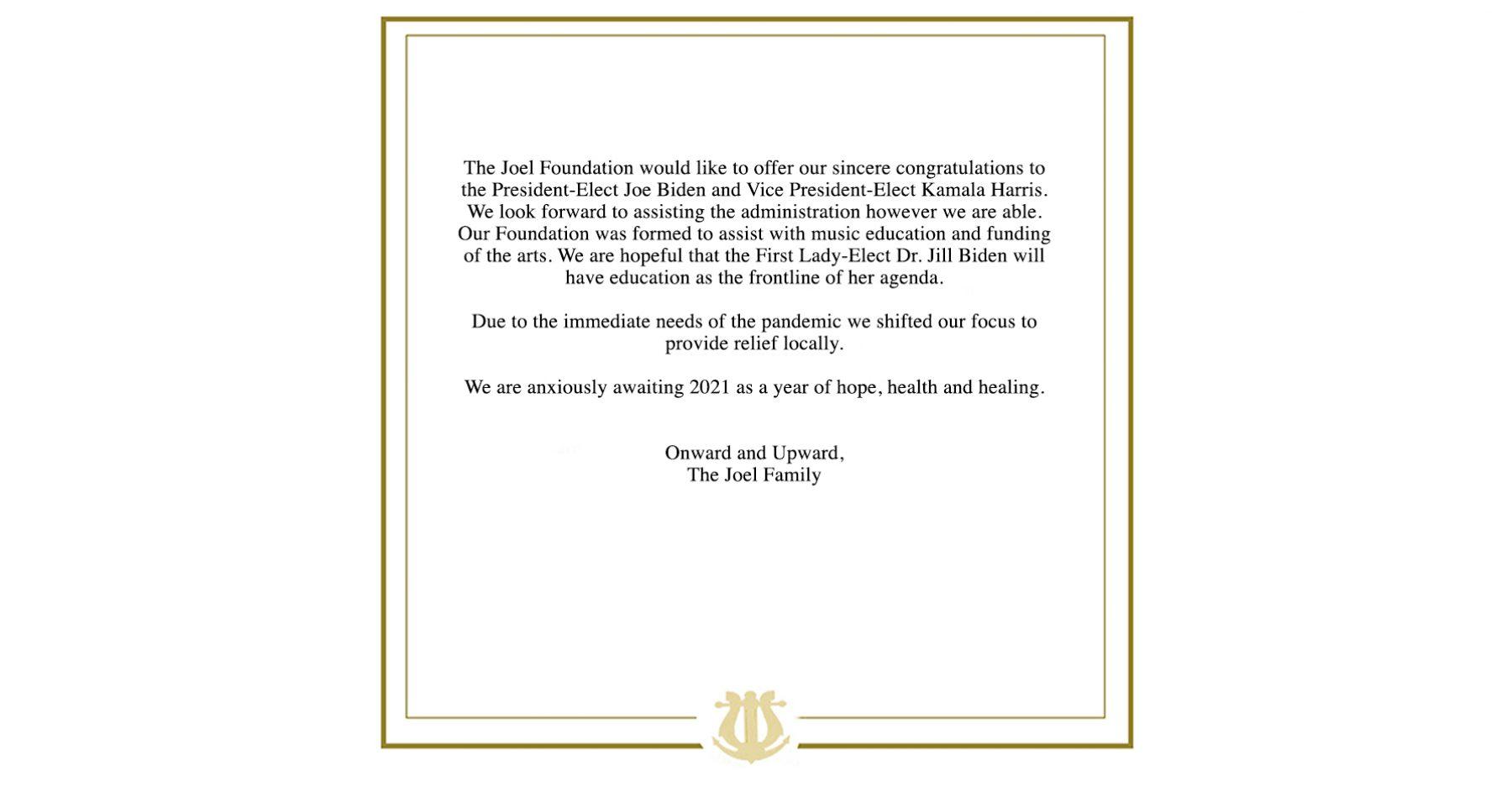 The Joel Foundation congratulates President-Elect Joe Biden and Vice President-Elect Kamala Harris
