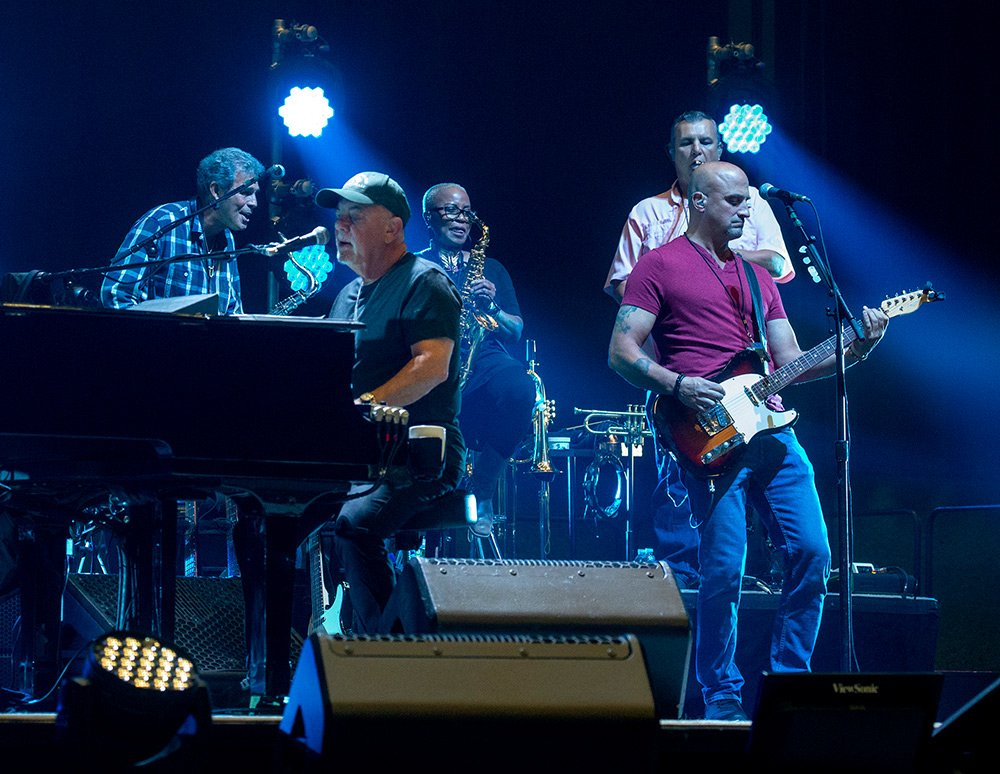 Billy Joel in rehearsal with Mark Rivera, Crystal Taliefero, Mike DelGuidice, Carl Fischer