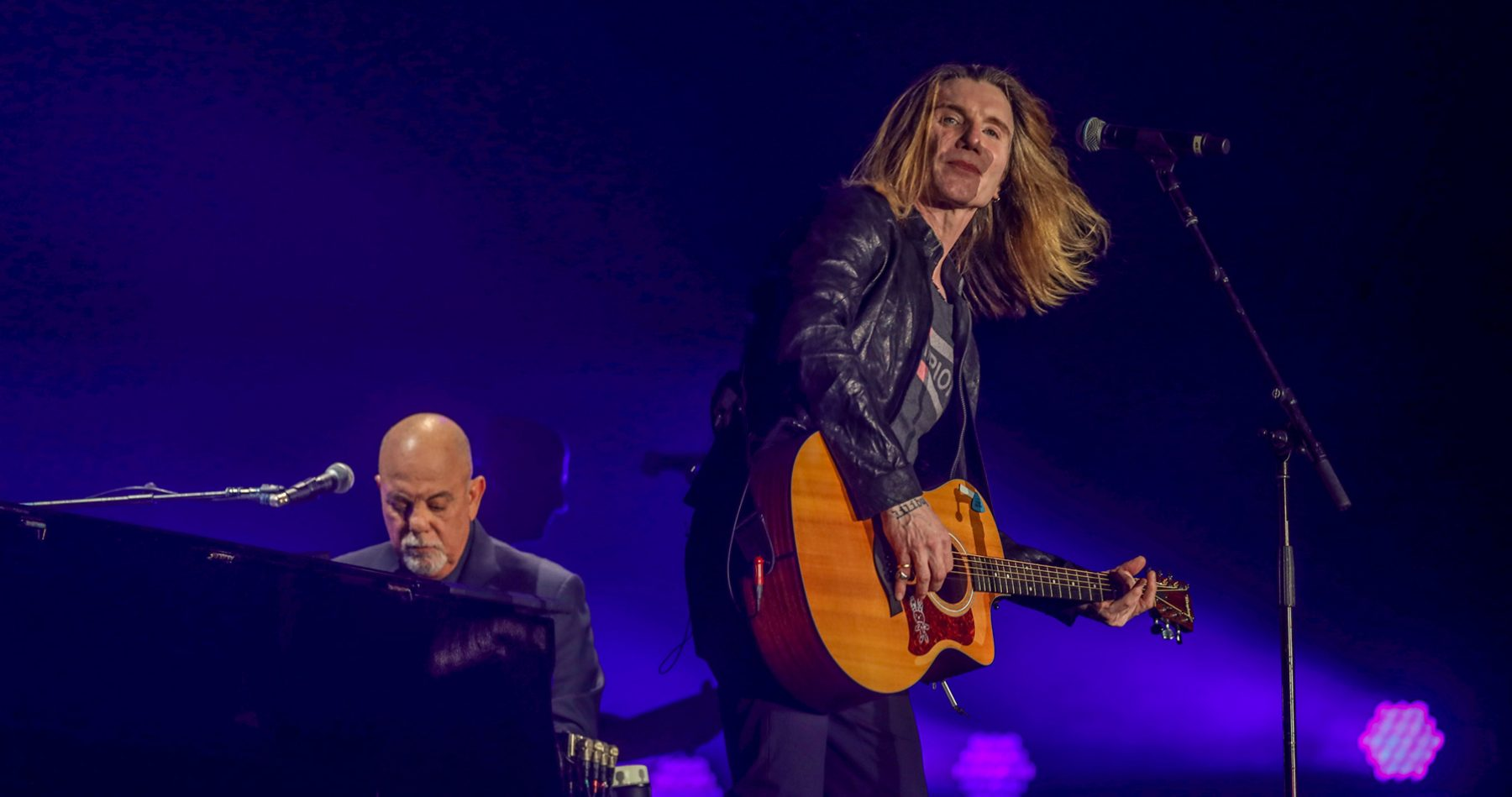 Billy Joel and John Rzeznik of the Goo Goo Dolls at Billy's concert at Highmark Stadium in Buffalo, NY, August 14, 2021