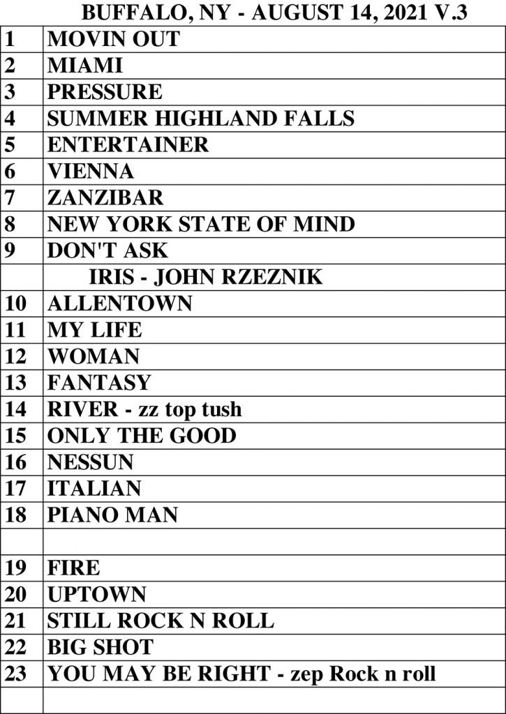Set list for Billy Joel's concert at Highmark Stadium in Buffalo, NY, on August 14, 2021