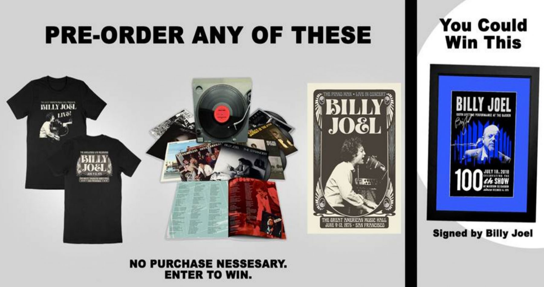 Billy Joel signed poster giveaway sweepstakes
