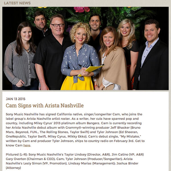 Cam Signs with Arista Nashville