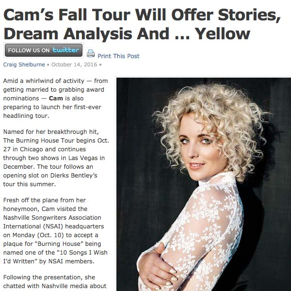Get Details on Cam's Tour from Music Row Magazine!